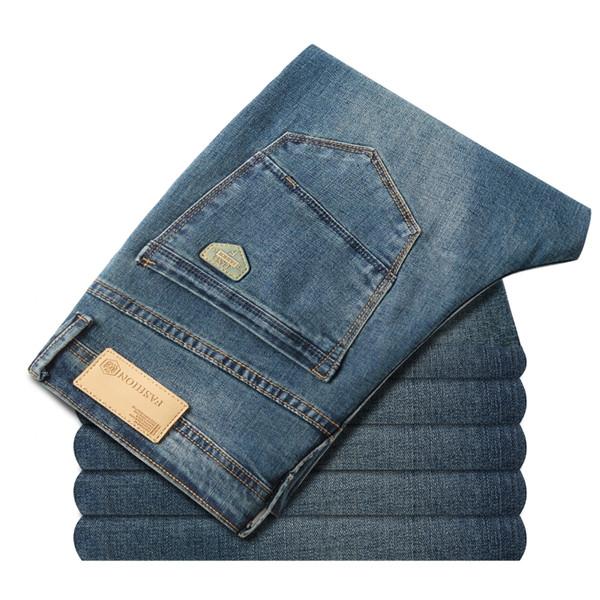2020 Spring Autumn New Men's Elastic Cotton Stretch Jeans Pants Loose Fit Denim Trousers Men's Brand Fashion Big Size 38 40 42