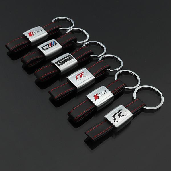 2 шт Кожа Mental автомобилей Логотип Брелок Брелок Брелок Брелок держатель Keyfob для Vol фото