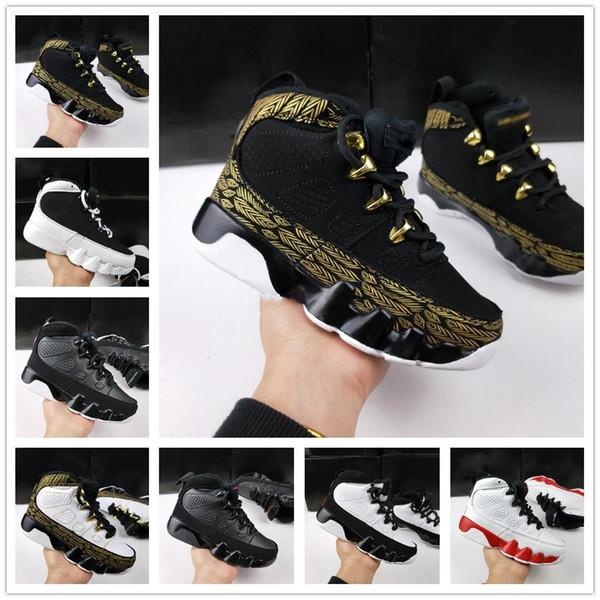 Nike Air Jordan Retro Shoes Cair 1 JORDAN 1 9 IX Bred LA Kids Баскетбольная обувь Детский дизайнер Space Jam Barons GS Oero Спортивные кроссовки для мальчиков Девочки 9s Shoes