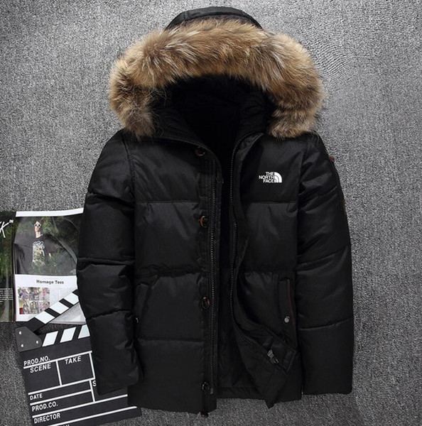 New the north men 039 clothing winter jacket parka warm goo e down coat oft hell fur collar hat thick outdoor outerwear face jacket