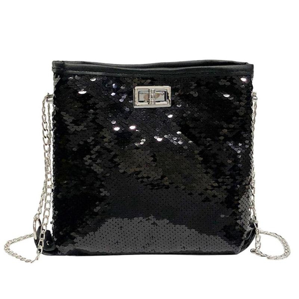 fashion chain shoulder bag evening party bucket sequin bag for women sliver gold purse girl handbags female dropship (514734648) photo