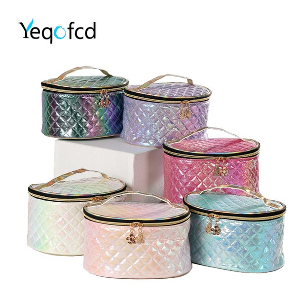 yeqofcd handle portable makeup case pu colorful cosmetic bag pouch travel organizer purse with zipper for kids women little girl (501278553) photo