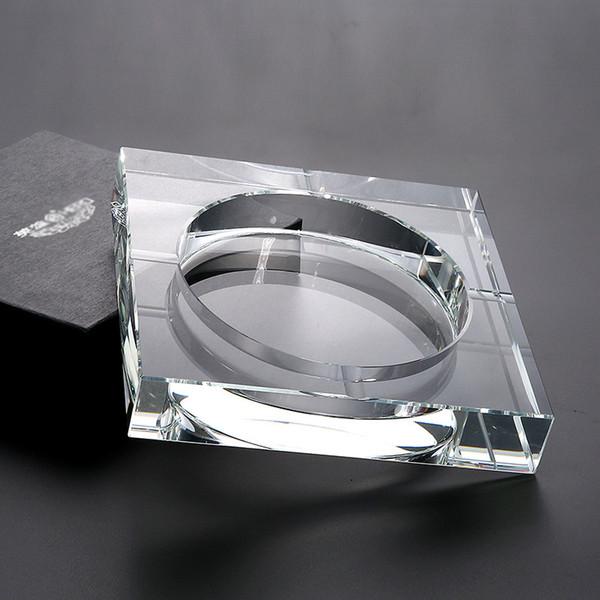 Ручной работы Хрустальная стеклянная пепельница черное золото прозрачная квадратная форма пепельница сигары курительные принадлежности бытовой офис КТВ курительные принадлежности фото