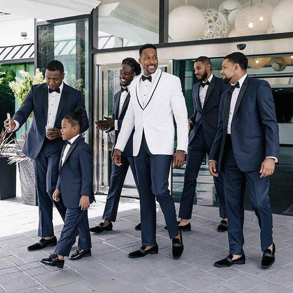 Белый жених смокинг мужские костюмы для свадебных костюмов брюки темно-синий жених блейзер Traje Hombre костюм Homme 2 шт. Slim Fit Terno Masculino фото