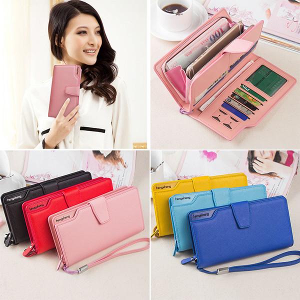 fashion women coin cards purse single zipper clutch bag pu leather wallets button handbags ka-best (466238052) photo