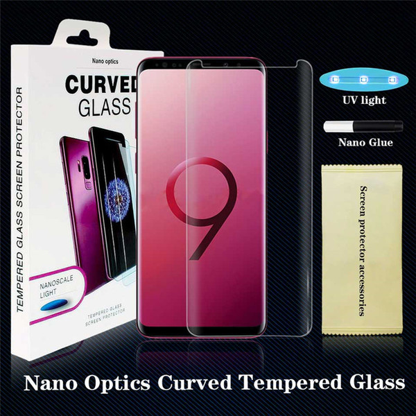 Uv glue  creen protector for  am ung galaxy note8 note 9  8  9  plu   7 edge full cover nano optic  curved tempered gla