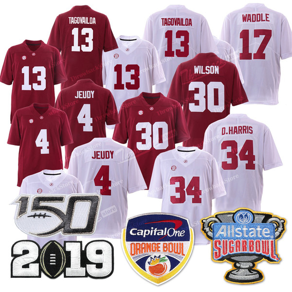 Alabama_13_tua_tagovailoa_crim_on_tide_orange_bowl_champion_hip_34_d_harri__4_jerry_jeudy_17_waddle_30_wil_on_jer_ey_2019_fußball_trikot