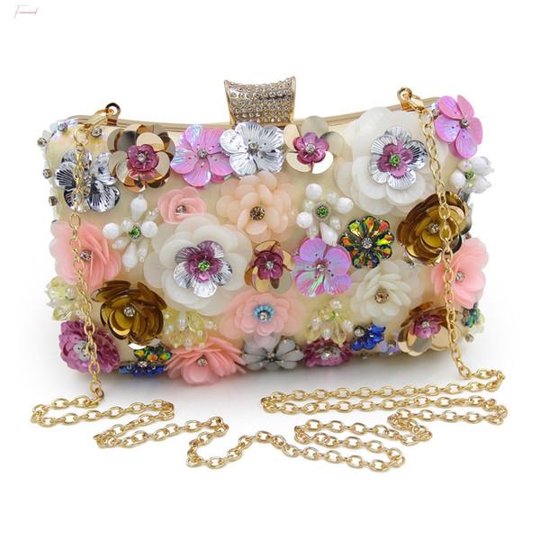ljl women clutches colorful flower evening bag sequins clutch purse (544453513) photo