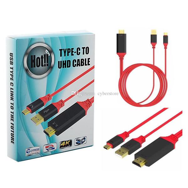 2 в 1 Тип C USB к разъему HDMI 4K * 2K 3D 1080P HDTV кабель-адаптер 3.1 для ТВ-телефона MacBook / Chromebook S8 фото