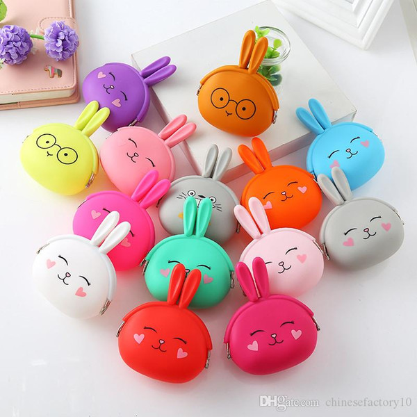 14 colors rabbit coin purse cute mini bag bunny ear bag gift silica gel keychain purse (487605982) photo