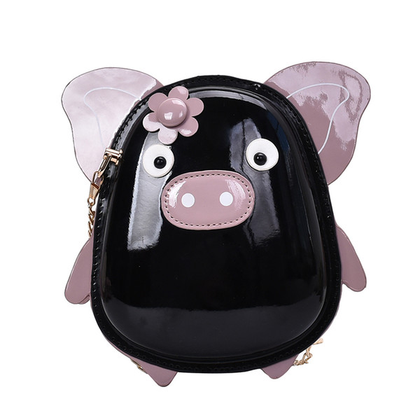 funny little pig design pu leather candy color young girl's shoulder bag tote crossbody mini bag women clutch purse handbag (539588447) photo