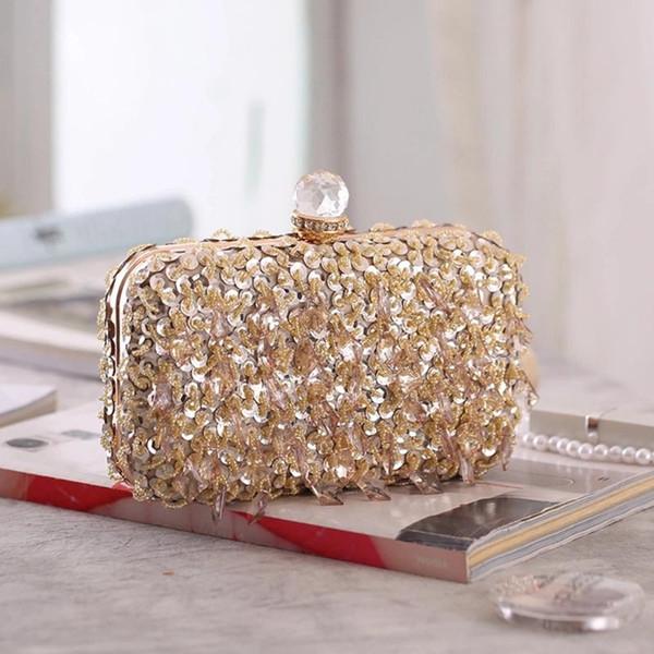 women glitter clutch evening handbags ladies purse hard shell tassel clutches for parties wedding club gold silvery bride bag (524648605) photo