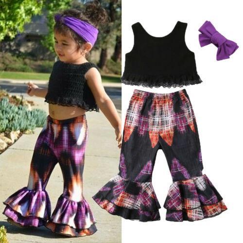 summer fashion cute midriff-baring stylish 3pcs toddler kid baby girl lace t-shirt +long pants headband outfits clothes set