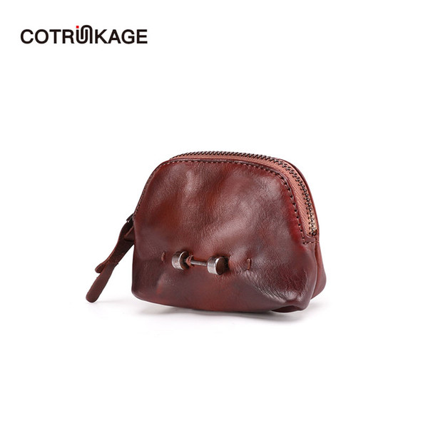 cotrunkage mini wallet women cute genuine leather coin purses vintage handmade change purse girls zipper pouch bag (454940419) photo