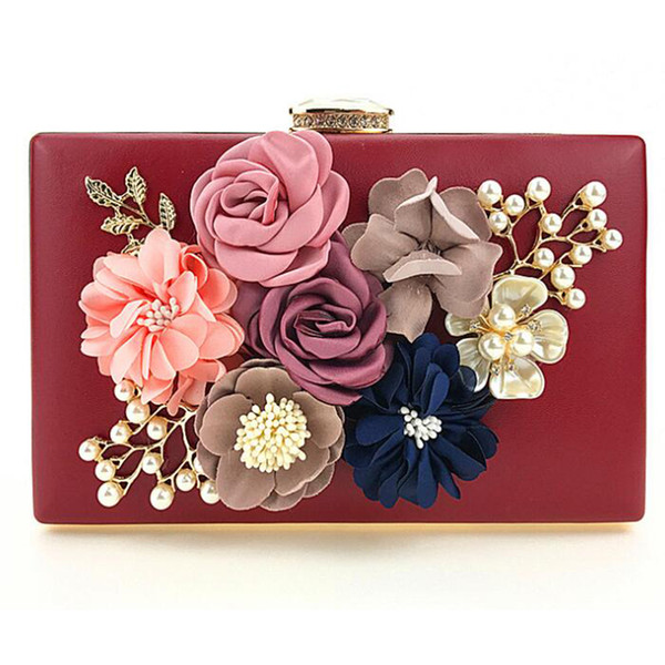 2019 fashion handmade flower bags for women 2019 party handbag single shoulder bag purple/apricot purses and handbags (493001322) photo