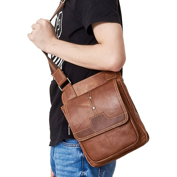 men mini crossbody bag new crazy horse leather purse simple travel wallet purse handbag men (507848313) photo