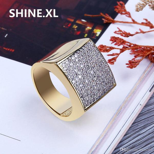 Хип-хоп рок прохладный простой мужской квадратный кольца все CZ камень мода мужской ювелирные изделия подарок идея фото