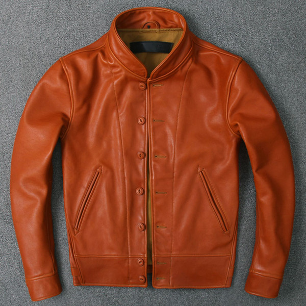 Pay tribute to ein tein model commemorative menlo co ack leather jacket with the oft tire cowhide genuine leather