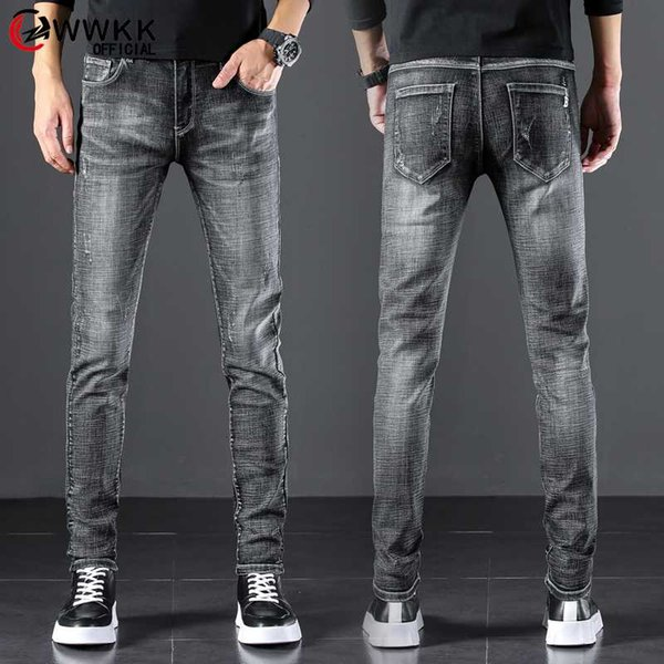 2020 Spring Summer Autumn New Men Thin Jeans Business Casual Stretch Slim Denim Pants Black gray Trousers Male Brand Large size