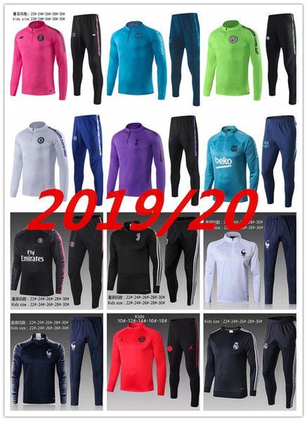 New 2019-2020 kids Psg tracksuit psg soccer jogging jacket MBAPPE POGBA 18/19 Paris child Football Training suit Real Madrid Jersey