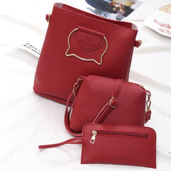 fashion ladies messenger hobo bag satchel women handbag tote purse pu leather shoulder bags 3pcs (525990310) photo