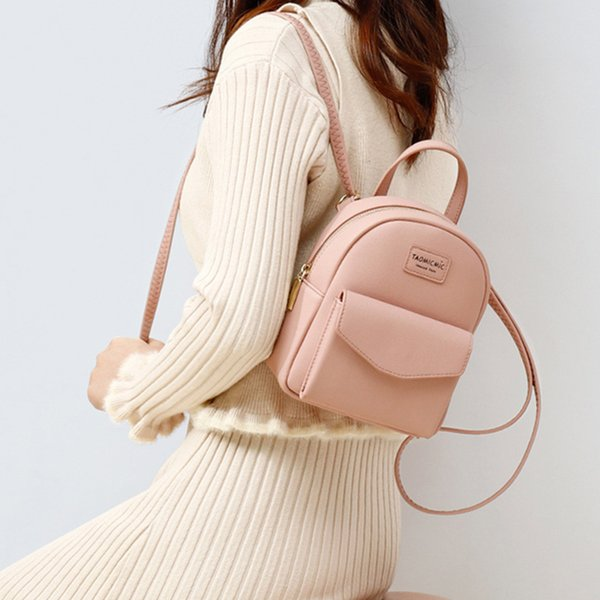 backpack girl sweet candy shoulder bags fashion simple teenager school bag solid color zipper mini women backpack purse rucksack (539627655) photo