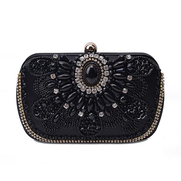 luxury crystal women evening clutch fashion handmade rhinestones evening bag purses vintage satin lady party wedding clutches (482693830) photo