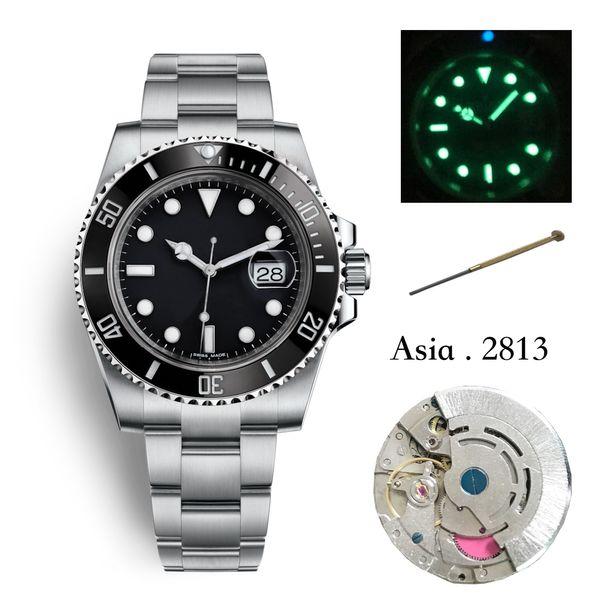 Luxury mens watch high quality ceramic bezel 2813 mechanical 40 mm automatic mechanical sports steel belt watches waterproof 50 m