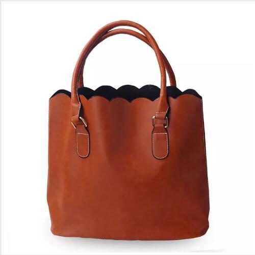 royalblanks personalised wholesale faux leather handle bag scalloped casual tote purse handbag with two handles can be embroideried (488110217) photo