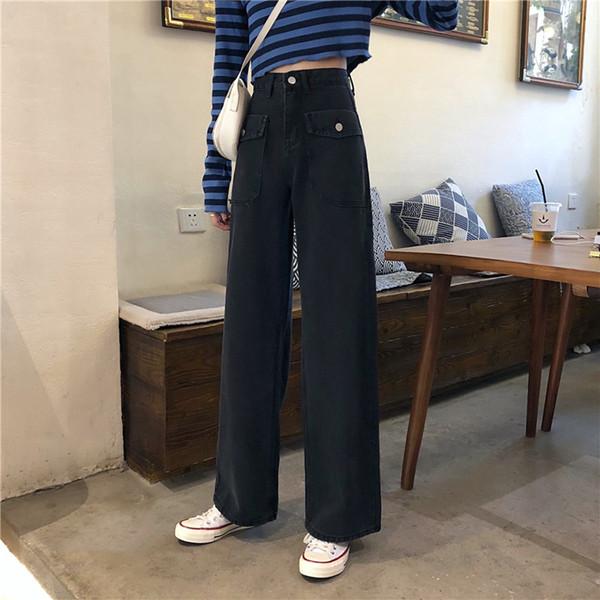 Denim Harem Black Jeans For Women 2020 Autumn Boyfriend Denim Wide Leg Pants Oversize High Waist Jean Streetwear plus size