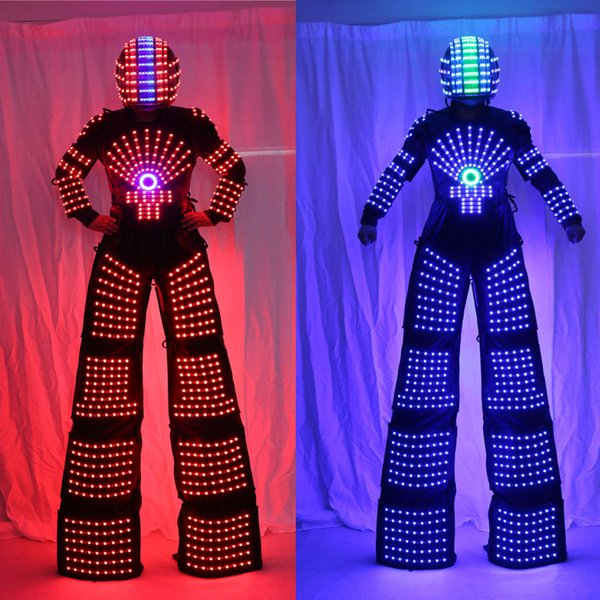 RGB Проблескивая светодиодов костюм /светодиодов ходули Уокер /легкие костюмы/ светодиодов робот костюмы/ Kryoman робот/ Дэвид Гетта робот шлем фото