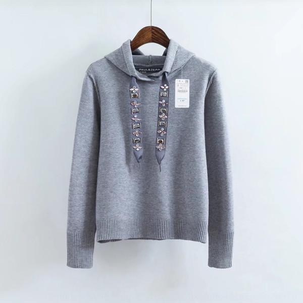 2020 Women's hooded Diamond pullover pullover jewelry belt decorative diamond knitted loose sweater women