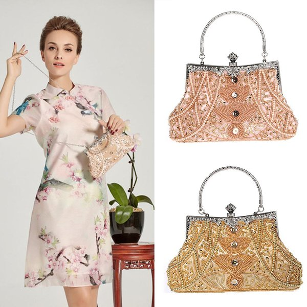 women evening bag vintage sequined beaded party handbag chain clutch purse totes female shoulder messenger bags (509061883) photo