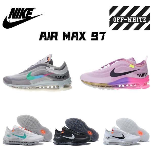 [С КОРОБКОЙ] ВЫКЛ. W БЕЛЫЙ x Nike air 97 max Прозрачный OW Очистить ДЕСЯТКИ МУЖЧИН / ЖЕНЩИН С