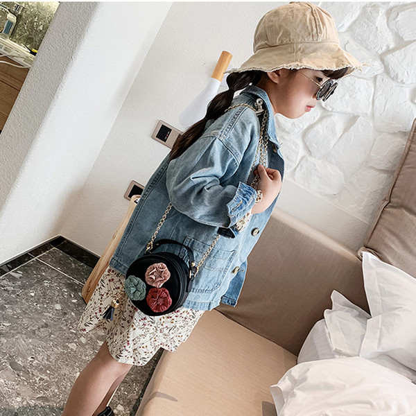 2019 new trend baby's mobile phone purse for girl little children small round bag cute flower handbag purse simple diagonal bag (477963712) photo