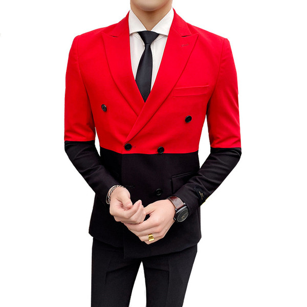 Stitching double-breasted men's suit suit hit color British style banquet urban trend fashion lapel wedding blazer