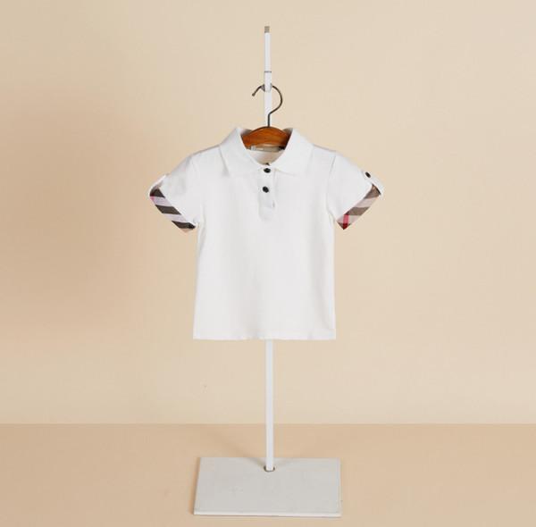 2019 Лето новые мальчики футболка дети лацкане плед с коротким рукавом рубашки поло мода детская дизайнерская одежда детей хлопка случайные топы F4343