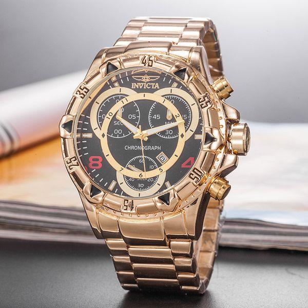 Роскошные часы INVICTA мужские Спортивные кварцевые часы мужские золотые часы Наруч фото