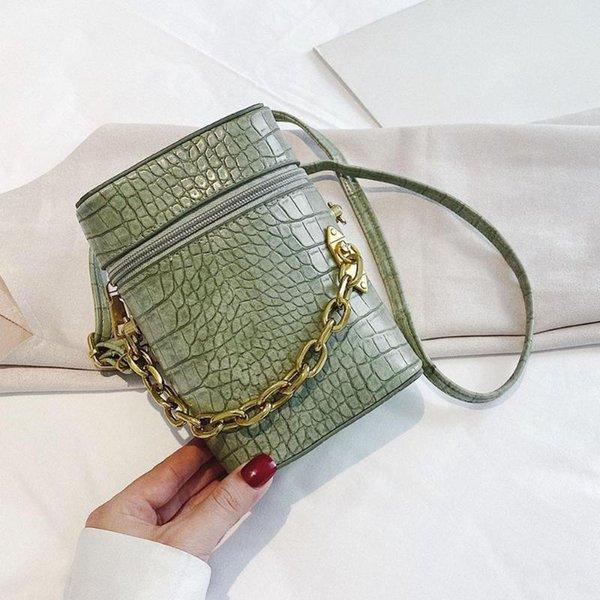 women solid bucket messenger purse retro alligator leather semicircle shoulder bags pu leather crossbody purse (546451857) photo