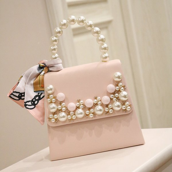 pearl string handle women handbag crystal diamond studded pearl flower clutch purse with satin scarve fashion lady girl tote (507610567) photo