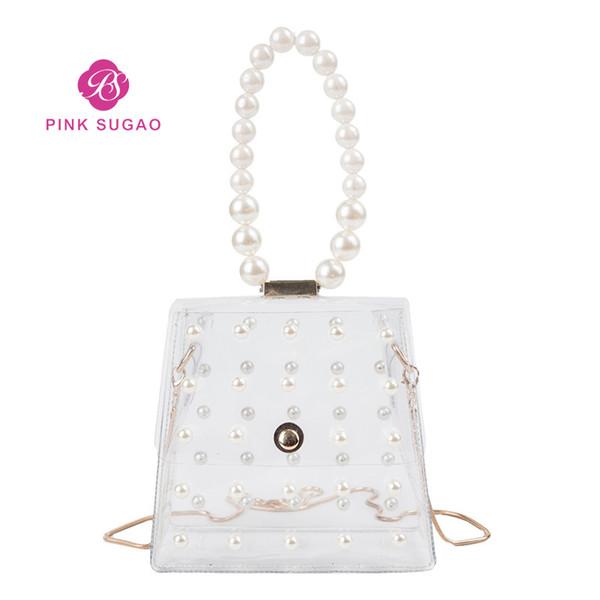 pink sugao designer handbags purses jelly bag women chain bag summer girl shoulder pearl bag (457706100) photo