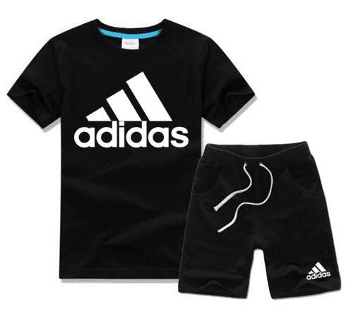 Бесплатная доставка 2019 новая коллекция весна роскошный логотип дизайнер мальчик девочка футболка брюки из двух частей костюм детский бренд детские 2 шт. Хлопок одежда наборы