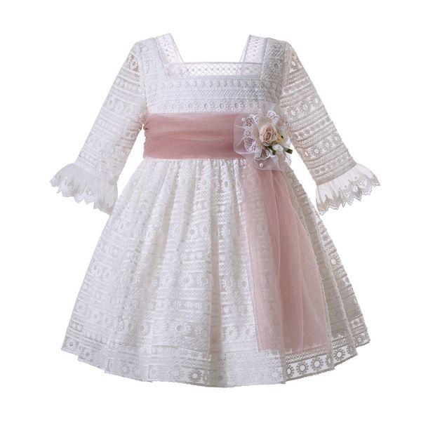Pettigirl 2019 белое сетчатое причастие театрализованное платье девушки свадебная церемония платье детская дизайнерская одежда девушки лето G-DMGD107-C58