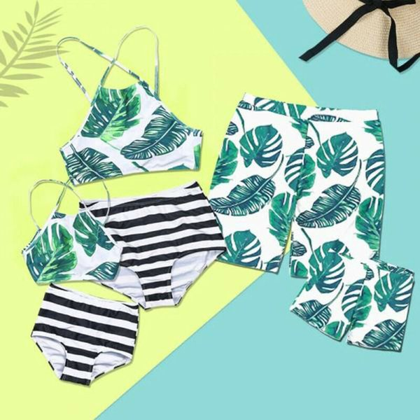 family matching swimwear men women kids boys girls leaf bikini bathingsuit