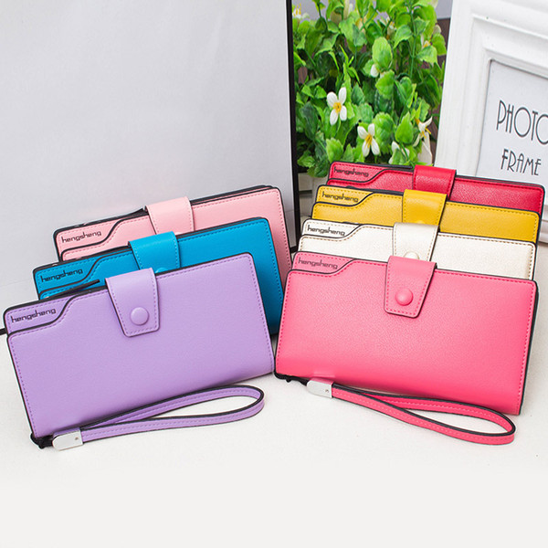 lady candy colors leather long wallet lady handle case card purse zipper buckle packet ka-best (466237948) photo