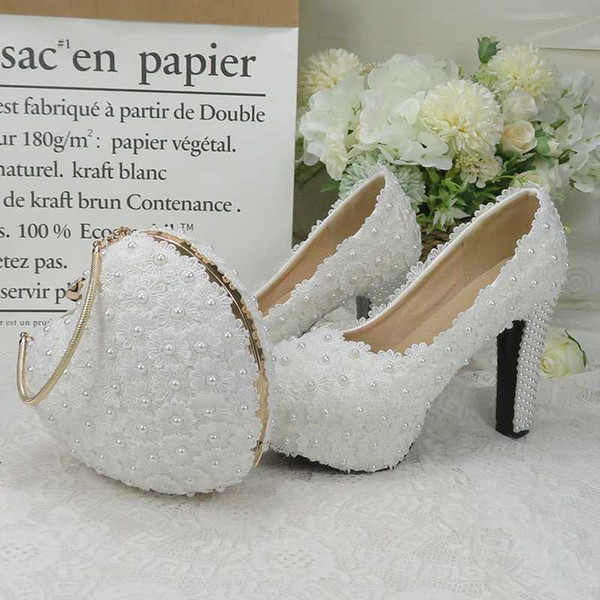 baoyafang white royal blue flower wedding shoes and bags sets ladies platform shoes woman high heel thick heel heart purse (564821969) photo
