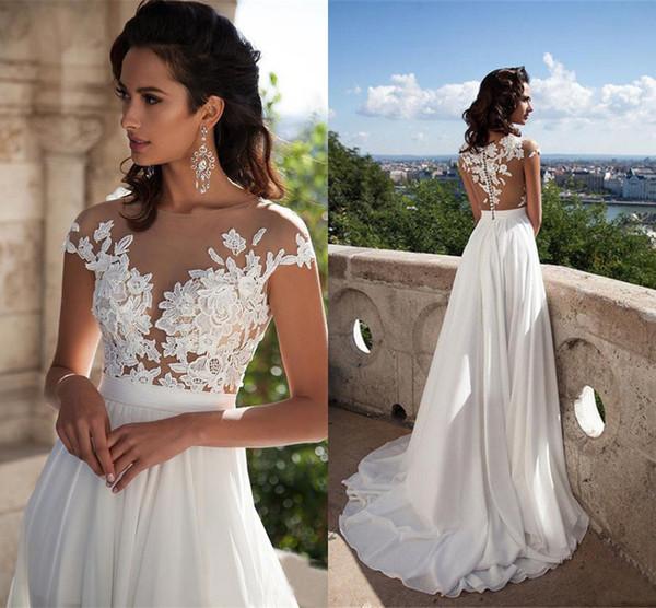 2019 дешевые пляжные свадебные платья сексуальные чешские Boho кружева аппликация с высоким разрезом шифон свадебное платье на складе