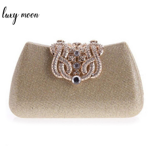 gold clutch full luxury diamond crown evening bags silver evening clutch party purse glitter wedding bags 100% real picture (487358058) photo