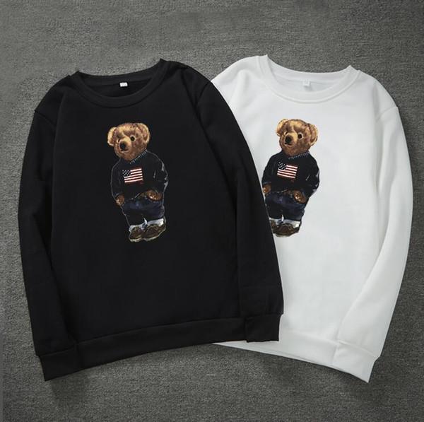 Зимние случайные медведь печати толстовки для мужчин с длинным рукавом пуловер м