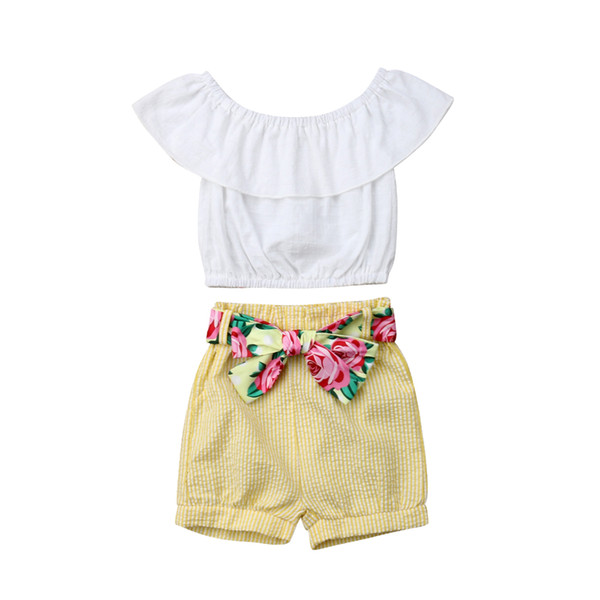 cute summer baby girls white ruffles sleeve t-shirt  yellow bow short pants outfits set clothes
